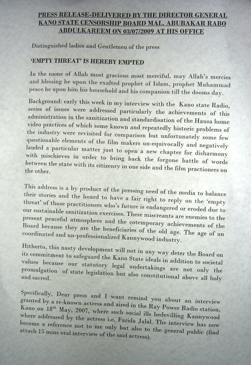 Page one of Kano State Censorship Board Press Release 3 July 2009