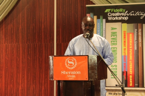 Helon Habila speaking at the closing ceremony for the Fidelity Creative Writing Workshop, Abuja, 22 July 2010 (c) Carmen McCain