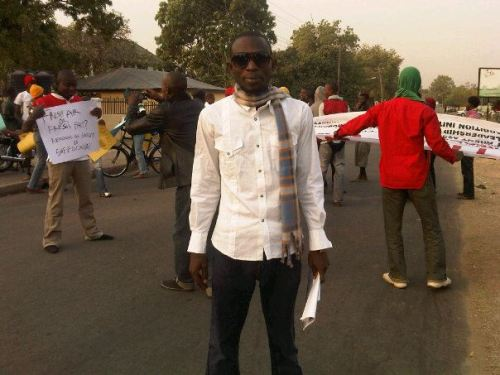 Gimba Kakanda during the Fuel Subsidy Protests (used by permission of Gimba Kakanda)