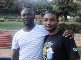 Elnathan and Abubakar at the Caine Prize workshop in Uganda, April 2013