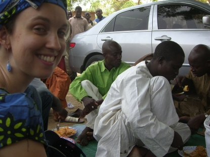 Eating on set of Ibro Ya Auri Baturiya. (Ibro in white). (Me, grinning like idiot)