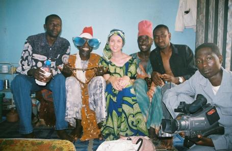 On set of Ibro Ya Auri Baturiya.  Left to right. Director Muhammad Y. Muhammad, Baba Ari, me, Dan Auta, Producer Lawal D. Funtua.