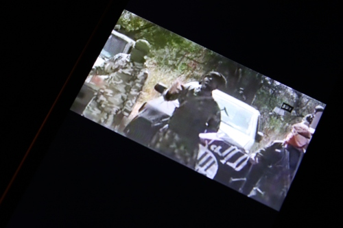 Boko Haram propaganda video playing on the phone of an IDP I interviewed. (c) Carmen McCain