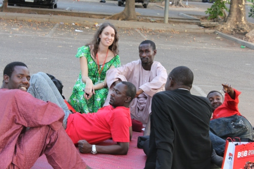 Hanging out in the Sheraton parking lot, at BOB-TV, Abuja, March 2010.